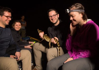 Group-of-tourists-holding-a-small-caiman